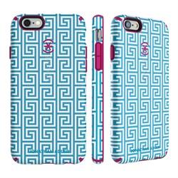Чехол-накладка Speck CandyShell Inked для iPhone 6/6s - JONATHAN ADLER Edition Aqua Greek Key/Lipstick Pink - фото 10126