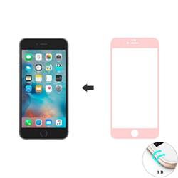 Защитное стекло Ainy Tempered Glass 3D для iPhone 6/6s на весь экран с закруглением (Цвет: Розовый, толщина 0.33 мм) - фото 14891