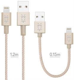 Кабель Mixberry Lightning - USB 2 кабеля 1.2/0.15м (Цвет: Золотой) - фото 15740