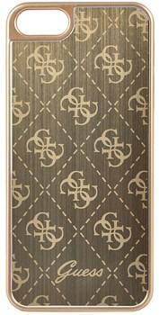 Чехол-накладка Guess Aluminium Plate для iPhone 5/5s/SE Hard Gold (Цвет: Золотой) - фото 16971