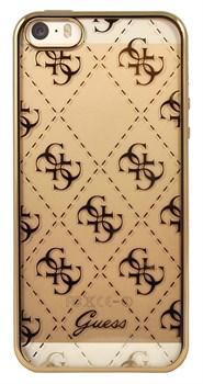 Чехол-накладка Guess Transparent для iPhone 5/5s/SE Hard TPU Gold (Цвет: Золотой) - фото 16977