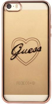 Чехол-накладка Guess для iPhone SE/5S SIGNATURE HEART Hard TPU Rose gold (Цвет: Розовое золото) - фото 16995