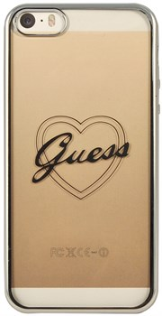 Чехол Guess для iPhone SE/5S SIGNATURE HEART Hard TPU Silver (Цвет: Серый) - фото 17001