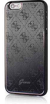 Чехол Guess для iPhone 6S 4G ALUMINIUM PLATE Hard Black (Цвет: Чёрный) - фото 17022