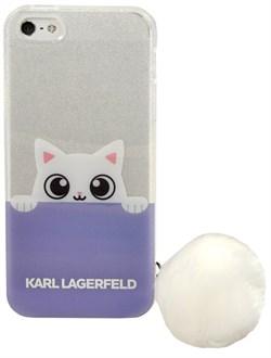Чехол-накладка Lagerfeld для iPhone SE/5S K-Peek A Boo Hard Transparent TPU Blue/White (Цвет: Белый/Голубой) - фото 17085