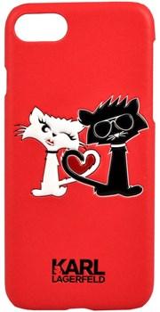 Чехол-накладка Lagerfeld iPhone 7/8 Choupette in love  Hard PU, цвет «красный» (KLHCP7CL1RE) - фото 18039
