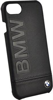 """Чехол-накладка BMW для iPhone 7/8 Signature Logo imprint Hard кожа, цвет """"черный""""  (BMHCP7LLSB) - фото 18547"""