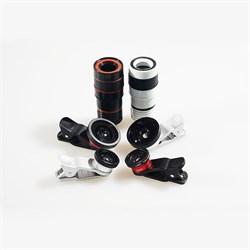 Объектив-линза Lieqi набор 4 в 1: Fisheye, Макро объектив,широкоугольная линза, телеобъектив Цвет: Красный/Синий (LQ-803) - фото 20285