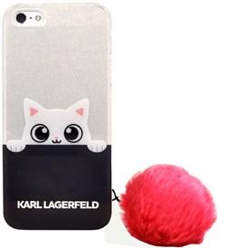 "Чехол-накладка Lagerfeld для iPhone SE/5S K-Peek A Boo Hard Transparent TPU, цвет ""прозрачный/синий"" (KLHCPSETRGPABPI) - фото 20890"