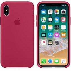 Оригинальный силиконовый чехол-накладка Apple для iPhone X, цвет «красная роза»  (MQT82ZM/A) - фото 22890