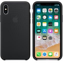 Оригинальный силиконовый чехол-накладка Apple для iPhone X, цвет черный  (MQT12ZM/A) - фото 22896
