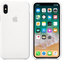 Оригинальный силиконовый чехол-накладка Apple для iPhone X, цвет белый  (MQT22ZM/A) - фото 22902