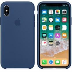 """Оригинальный силиконовый чехол-накладка Apple для iPhone X, цвет """"Тёмный кобальт""""  (MQT42ZM/A) - фото 22908"""