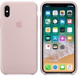 Оригинальный силиконовый чехол-накладка Apple для iPhone X, цвет «Розовый песок»  (MQT62ZM/A) - фото 22914