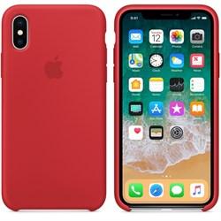 Оригинальный силиконовый чехол-накладка Apple для iPhone X, цвет красный  (MQT52ZM/A) - фото 22926