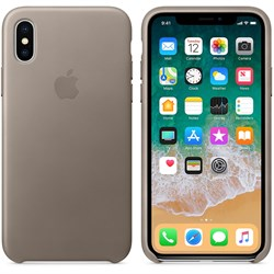 Оригинальный кожаный чехол-накладка Apple для iPhone X, цвет платиново-серый  (MQT92ZM/A) - фото 22932