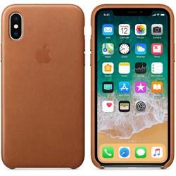 Оригинальный кожаный чехол-накладка Apple для iPhone X, цвет золотисто-коричневый  (MQTA2ZM/A) - фото 22938
