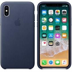 Оригинальный кожаный чехол-накладка Apple для iPhone X, цвет темно-синий  (MQTC2ZM/A) - фото 22944