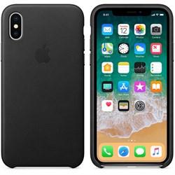 Оригинальный кожаный чехол-накладка Apple для iPhone X, цвет черный  (MQTD2ZM/A) - фото 22950
