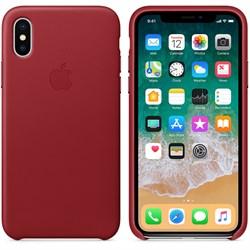 Оригинальный кожаный чехол-накладка Apple для iPhone X, цвет красный  (MQTE2ZM/A) - фото 22956