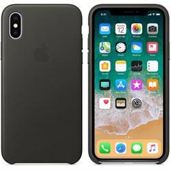 Оригинальный кожаный чехол-накладка Apple для iPhone X, цвет угольно-серый  (MQTF2ZM/A) - фото 22962