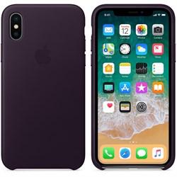 Оригинальный кожаный чехол-накладка Apple для iPhone X, цвет баклажановый  (MQTG2ZM/A) - фото 22968