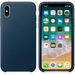 Оригинальный кожаный чехол-накладка Apple для iPhone X, цвет «Космический синий»  (MQTH2ZM/A) - фото 22974