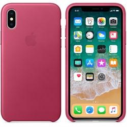 Оригинальный кожаный чехол-накладка Apple для iPhone X, цвет «Розовая фуксия»  (MQTJ2ZM/A) - фото 22980