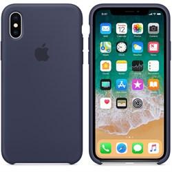 Оригинальный силиконовый чехол-накладка Apple для iPhone X, цвет тёмно-синий  (MQT32ZM/A) - фото 22993