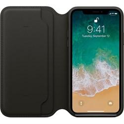 Оригинальный кожаный чехол-книжка Apple для iPhone X, цвет черный  (MQRV2ZM/A) - фото 22999