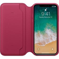 """Оригинальный кожаный чехол-книжка Apple для iPhone X, цвет """"лесная ягода""""  (MQRX2ZM/A) - фото 23005"""