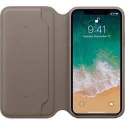 Оригинальный кожаный чехол-книжка Apple для iPhone X, цвет платиново-серый  (MQRY2ZM/A) - фото 23011