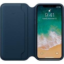 Оригинальный кожаный чехол-книжка Apple для iPhone X, цвет «Космический синий»  (MQRW2ZM/A) - фото 23017