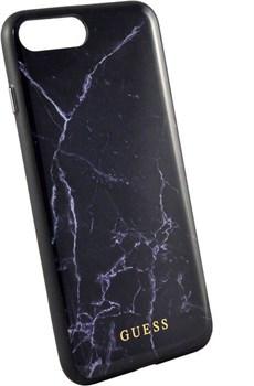 "Чехол-накладка Guess для iPhone 7+/8+ Marble Collection Hard TPU, дизайн ""черный мрамор"" (GUHCI8LHYMABK) - фото 23601"