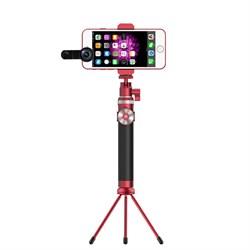 """Монопод Noosy King Kong Selfie Stick, премиальный набор 3 в 1, цвет """"красный"""" (BR12) - фото 23649"""