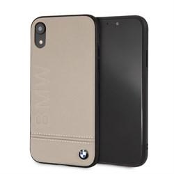 """Чехол-Накладка BMW iPhone XR Signature Logo imprint Hard Leather, """"Taupe"""" (BMHCI61LLST) - фото 24815"""