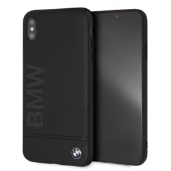 "Чехол-Накладка BMW iPhone XS Max Signature Logo imprint Hard Leather ""Black"" (BMHCI65LLSB) - фото 24827"