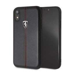 "Чехол-Накладка Ferrari iPhone XR Heritage W Hard Leather, ""Black"" (FEHDEHCI61BK) - фото 24841"