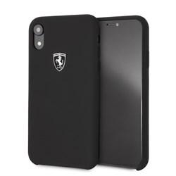 "Чехол-Накладка Ferrari для iPhone XR Silicone rubber Silver logo Hard, ""Black"" (FEOSIHCI61BK) - фото 24871"