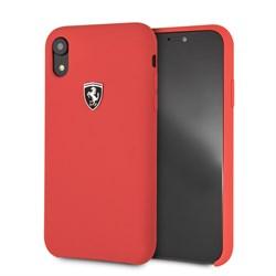 "Чехол-Накладка Ferrari для iPhone XR Silicone rubber Silver logo Hard, ""Red"" (FEOSIHCI61RE) - фото 24885"