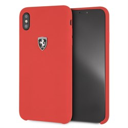 "Чехол-Накладка Ferrari iPhone XS Max Heritage W Hard Leather ""Red"" (FEHDEHCI65RE) - фото 24913"