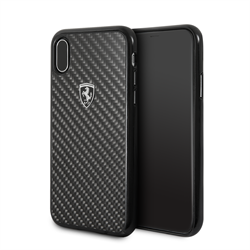 "Чехол-Накладка Ferrari iPhone X/XS Heritage Real carbon Hard ""Black"" (FEHCAHCPXBK) - фото 24927"