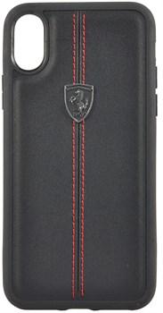 "Чехол-Накладка Ferrari iPhone X/XS Heritage W Hard Leather, ""Black"" (FEHDEHCPXBK) - фото 24958"
