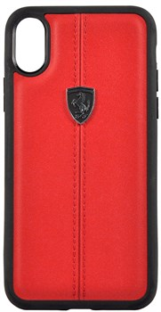 "Чехол-Накладка Ferrari iPhone X/XS Heritage W Hard Leather, ""Red"" (FEHDEHCPXBK) - фото 24964"