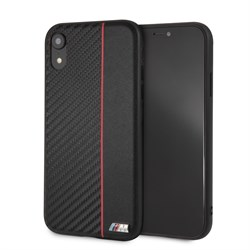 "Чехол-Накладка BMW iPhone XR M-Collection Carbon inspiration Hard PU, ""Red"" (BMHCI61CAPRBK) - фото 24986"