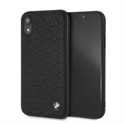 "Чехол-Накладка BMW iPhone XR Signature Embossed hexagon Hard Leather, ""Black"" (BMHCI61HEXBK) - фото 25000"