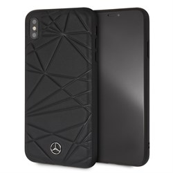 "Чехол-Накладка Mercedes iPhone XS Max Twister Hard Leather, ""Black"" (MEPERHCI65QGLBK) - фото 25239"