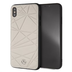 """Чехол-Накладка Mercedes iPhone XS Max Twister Hard Leather, """"Grey"""" (MEPERHCI65QGLGR) - фото 25267"""