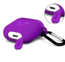 Чехол для AirPods силиконовый с карабином, Фиолетовый - фото 25383
