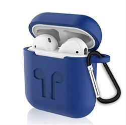 Чехол для AirPods силиконовый с карабином, Синий - фото 25385